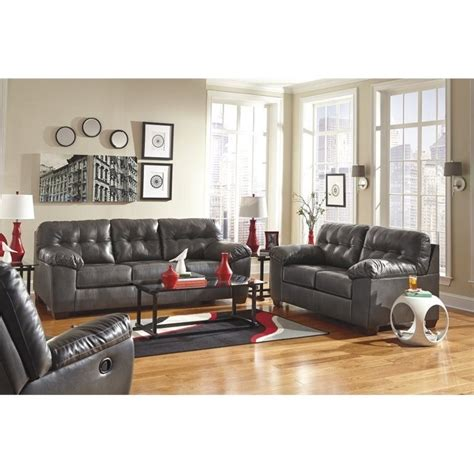 Ashley Furniture Alliston Leather  Ee  Sofa Ee   In Gray