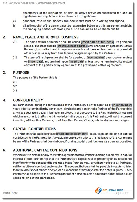 partnership contract general partnership agreement deed of partnership contract