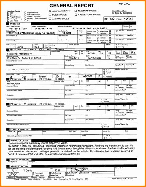 police arrest report template fresh  fake police report
