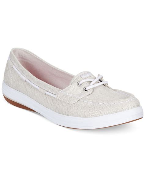 Keds Silver Boat Shoes lyst keds s glimmer boat shoes in metallic