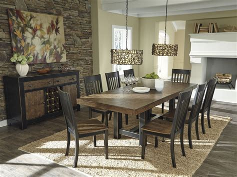 emerfield  tone brown rectangular extendable dining