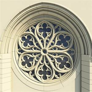 3d gothic rose window architectural model