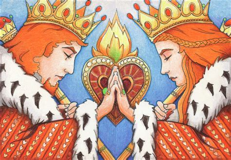 Wall decor, wall art, tapestry, wall hanging, meditation wall decor. King And Queen Of Hearts by Amy S Turner