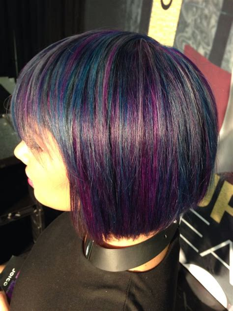 Inspiration Black Iridescent Stone Oil Slick Haircut