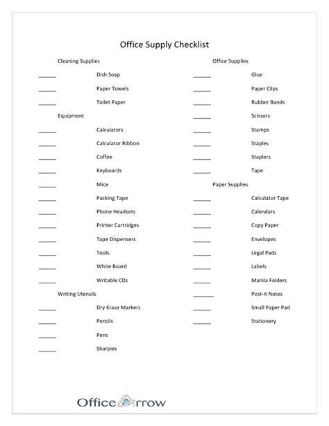 Office Supplies Checklist office supply checklist