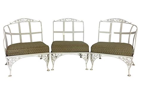 Wrought Iron Settee by Woodard Wrought Iron Powder Coated Three Seat Sofa Settee