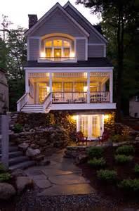 hillside walkout basement house plans lake front home lake sunapee nh exterior