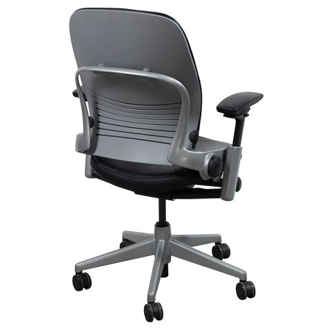 steelcase leap v2 used leather task chair black