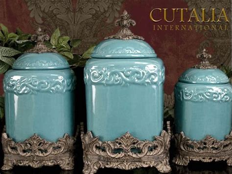 tuscan drake design turquoise kitchen canisters