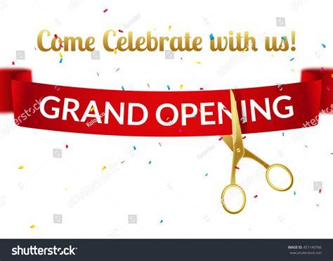 grand opening design template ribbon scissors stock vector