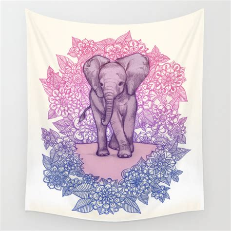 cute baby elephant in pink purple blue wall tapestry by