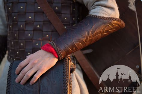 viking leather vambraces   brown leather