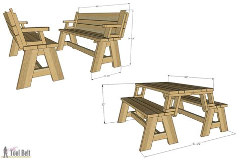 convertible picnic table  bench buildsomethingcom