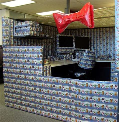 funny office cubicle prank christmas wrapping paper photo