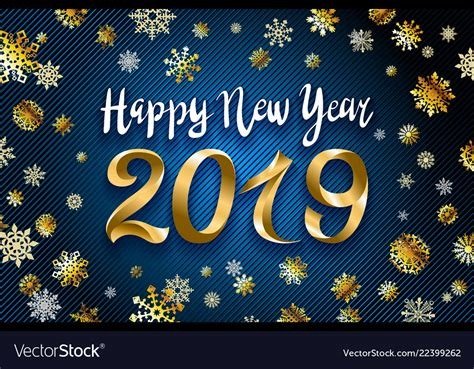 Gold Happy New Year 2019 Text Design Greeting Vector Image