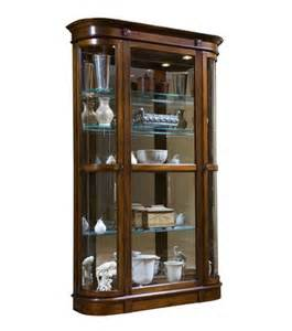 curved end curio cabinet in salerno brown closeout by