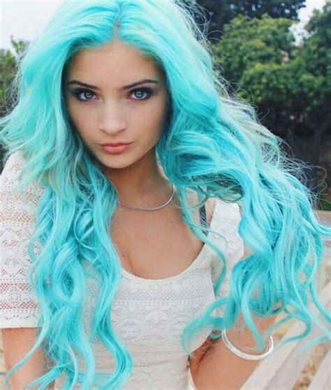 Colored Hair by Bright Turquoise Blue Pastel Dyed Hair Color Dyed Hair