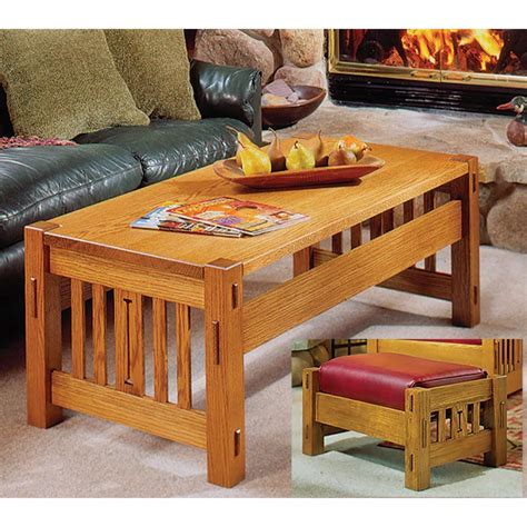 arts  crafts coffee table  ottoman woodworking plan