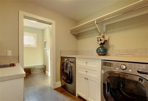hanging rod and shelf ideas laundry room transitional with