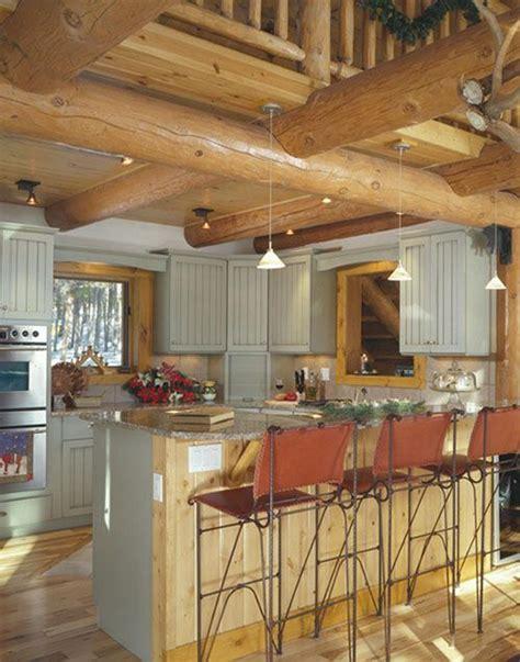 pine  painted cabinets   fresh    log house log home kitchens log cabin