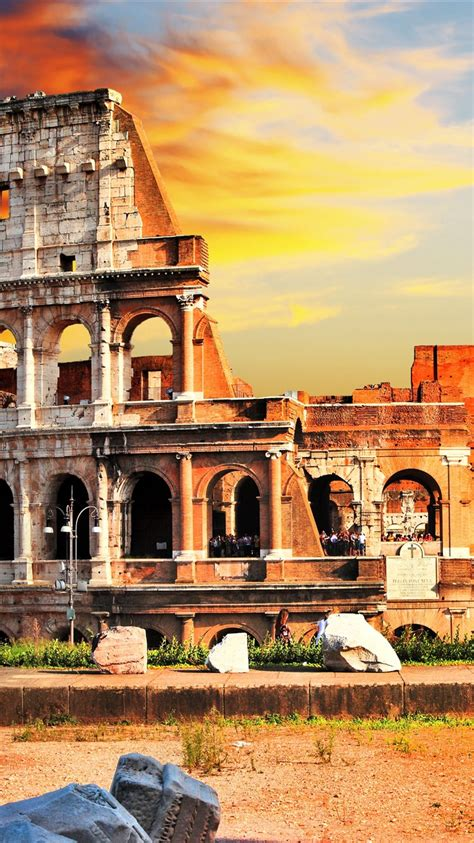wallpaper travel  rome colosseum italy  uhd