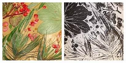 Printmaking Nature Printing Materials Inspiring Classroom Collagraph