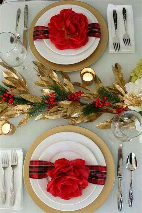 red gold holiday table setting  centerpiece holiday