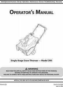Mtd 31a 2m1a700 User Manual Snow Thrower Manuals And