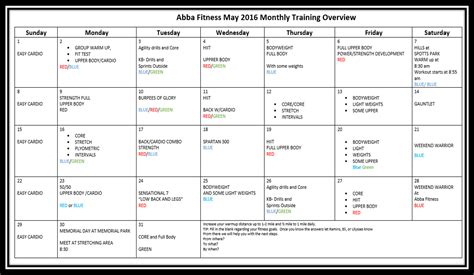 monthly training program workout plan abba fitness