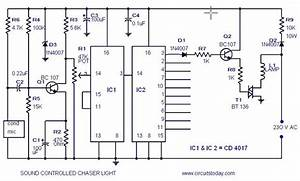 Musical Light Chaser Circuit With Diagram Using Ic Cd4016