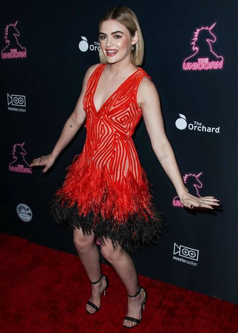Lucy Hale in Red Dress at