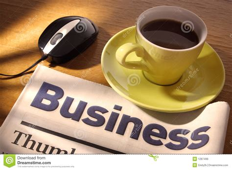 Coffee newspaper refers to papers that have been discarded as not fit for use. Coffee, Newspaper And Mouse On Desk Royalty Free Stock Images - Image: 1287499