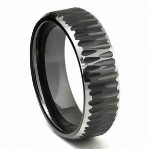 black tungsten carbide hammer finish beveled wedding band ring With tungsten wedding band ring