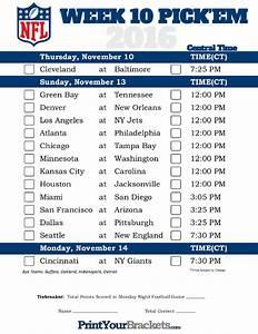 Printable Weekly Football Pool Sheet Central Time Week 10 Nfl Schedule 2016 Printable
