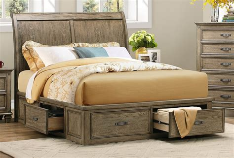 Sylvania Driftwood Cal. King Platform Storage Bed From
