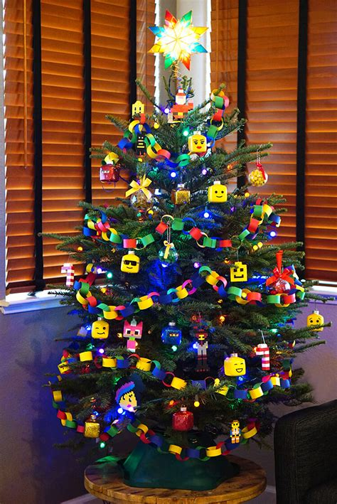 kids lego themed christmas tree happiness  homemade