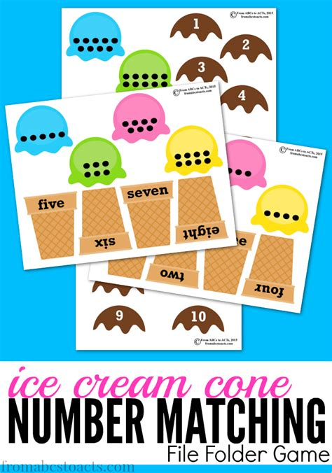 preschool math cone number matching 958 | ice cream cone printable number matching file folder game