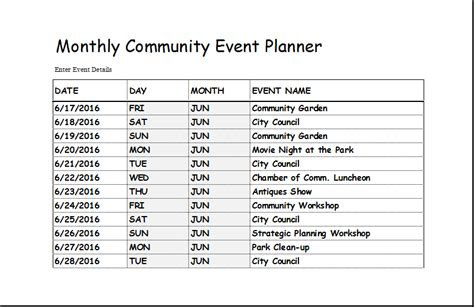Community Events Calendar Template by Community Event Planner Template For Excel Excel Templates