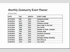 Community Event Planner Template for EXCEL Excel Templates