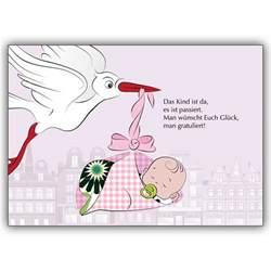 designer weihnachtskarten süße baby mädchen glückwunschkarte zur geburt in rosa mit storch kartenkaufrausch