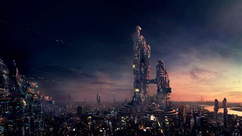sunset cityscapes futuristic urban buildings city