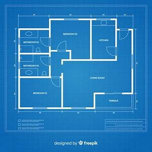 flat, design, blueprint, of, a, house, vector