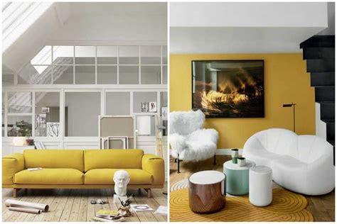 housse pour canapé la couleur jaune moutarde pour un intérieur chaleureux