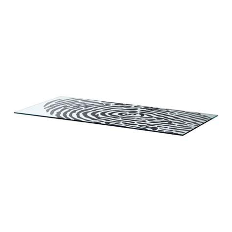 ikea bureau en verre glasholm tafelblad glas vingerafdrukpatroon ikea