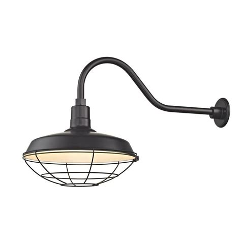 barn light outdoor wall light black with gooseneck arm quot cage shade