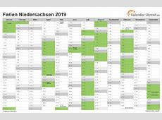 Ferien Niedersachsen 2019 Ferienkalender zum Ausdrucken