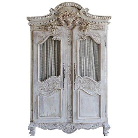 french carved painted wedding armoire   furniture