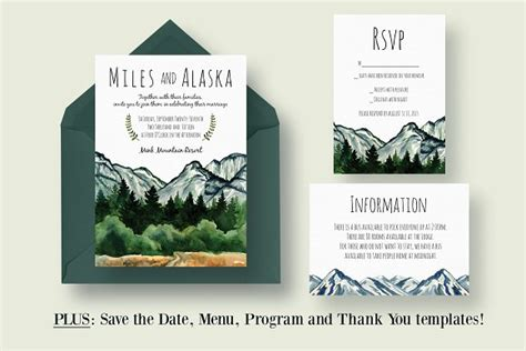 Mountain Wedding Invitation Suite ~ Invitation Templates