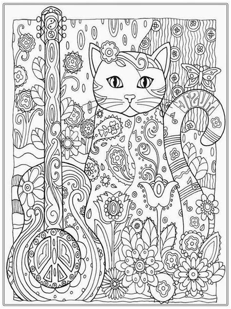 pretty cat coloring pages  adult printable coloring