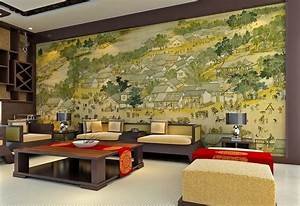 Chinese living room wall design and famous ancient painting